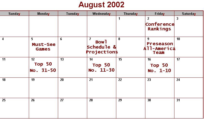 August Preview Schedule