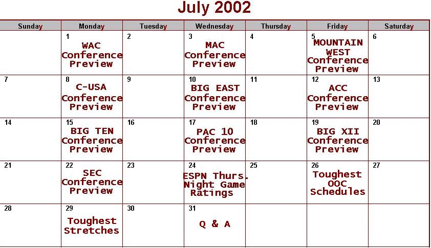 July Preview Schedule